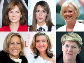 (Clockwise from top left) Fiona Bruce, Alex Jones, Sue Barker, Clare Balding, Victoria Derbyshire, Emily Maitlis