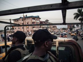 Soldiers of the 21st Motorized Infantry Brigade patrol in the streets of Buea, South-West Region of Cameroon