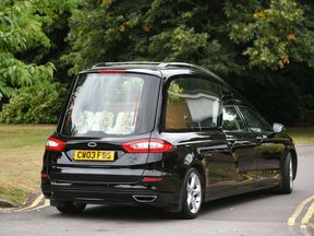 The hearse carrying Dawn Sturgess's coffin arrives at Salisbury Crematorium
