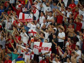 Jubilant England fans inside the Spartak Arena