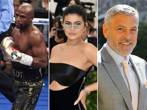 (Left to right) Floyd Mayweather, Kylie Jenner and George Clooney are among the highest earning celebs last year