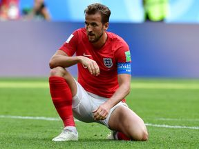 England's forward Harry Kane reacts on the pitch during their Russia 2018 World Cup play-off for third place football match between Belgium and England at the Saint Petersburg Stadium in Saint Petersburg on July 14, 2018. (Photo by Giuseppe CACACE / AFP) / RESTRICTED TO EDITORIAL USE - NO MOBILE PUSH ALERTS/DOWNLOADS (Photo credit should read GIUSEPPE CACACE/AFP/Getty Images)