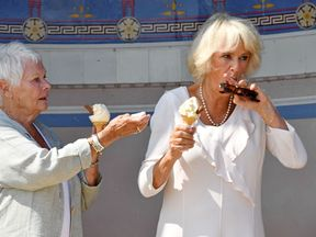 Dame Judi offers the duchess a napkin to clean up