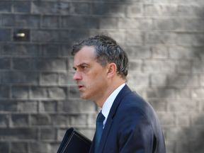 Chief Whip Julian Smith arriving in Downing Street for a cabinet meeting