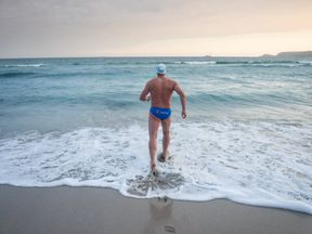 Lewis Pugh began the swim just after 6am on Thursday