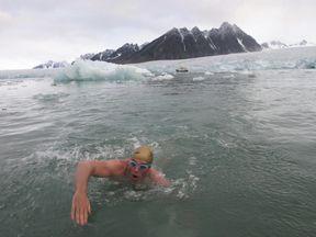 Lewis Pugh swimming in Arctic waters in 2005