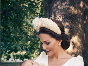 The Duchess of Cambridge holds Prince Louis. Pic: Matt Holyoak