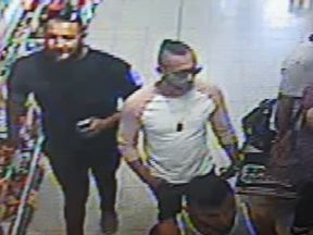 Police want to trace these three men after a three-year-old boy was seriously injured in a suspected acid attack in Worcester. Pic: West Mercia Police