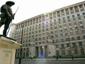 The Ministry of Defence's Main Building in London's Whitehall, where a major project started that will see the complete demolition of its interior, which currently covers 1 million square feet and has 5km of corridors.  *   and before it has finished, will involve a petrol tanker's worth of paint, 3,600 doors and the installation of the equivalent of eight football pitches of carpets. See PA story DEFENCE Hoon.  PA photo: Toby Melville.