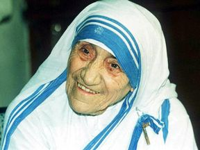 A photograph of Mother Teresa from 1995 in Calcutta