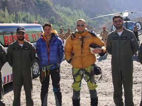 The men became stranded after their tent was hit by an avalanche