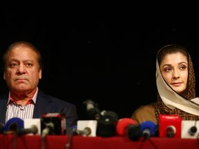 Mr Sharif and his daughter have been in London where his wife is being treated for cancer