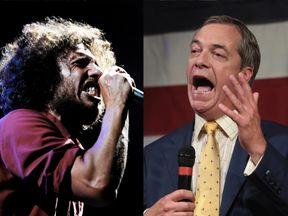 Rage Against The Machine frontman Zack de la Rocha wants Nigel Farage to drop the name of his podcast