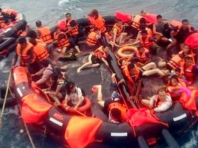 Survivors in a life raft. Pic: Phuket Provincial EOC