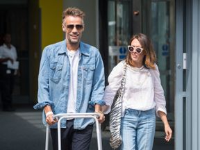 Richard Bacon leaves Lewisham Hospital in south east London with his wife Rebecca