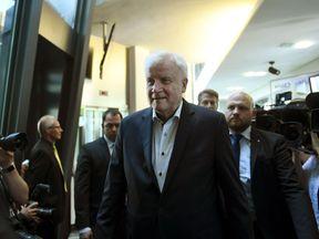 German Interior Minister and Bavarian Christian Social Union (CSU) politician Horst Seehofer arrives for a party leadership meeting of the Bavarian CSU party