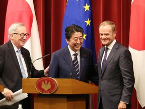 Japanese Prime Minister Shinzo Abe announced the deal with European Commission President Jean-Claude Juncker and European Council President Donald Tusk
