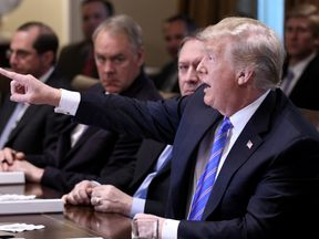 U.S. President Donald Trump speaks during a cabinet meeting in the Cabinet Room of the White House, July 18, 2018 in Washington, DC. Photo by Olivier Douliery/ Abaca Press