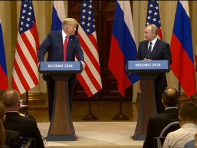 Trump and Putin address a news conference after talks
