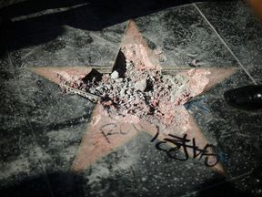 The star was vandalised overnight the famous Hollywood Walk of Fame