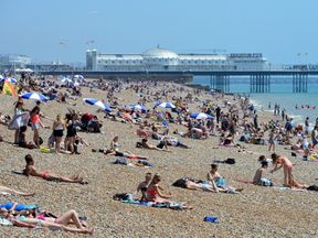 Brighton beach is likely to be busy during the weekend scorcher