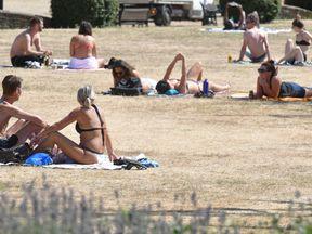 People sunbathe in Haggerston Park, in east London in July