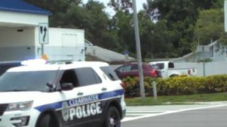 Duck family cross the street with police protection in Florida