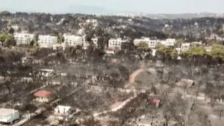 Aerial view of Greek village destroyed by wildfire