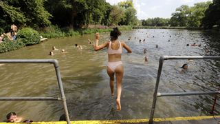 The swimming ponds at Hampstead Heath were busy