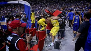 Philippine and Australian players engage in a brawl during their FIBA World Cup Asian qualifier game north of Manila