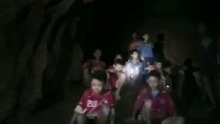 The Thai boys were found sitting on a bank inside the cave
