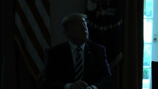 The lights temporally go out in the Cabinet Room while U.S. President Donald Trump talks the media about his meeting with Vladimir Putin