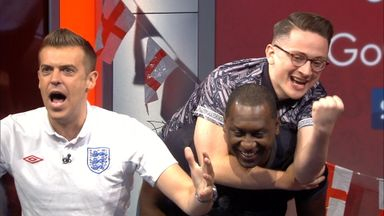 Heskey celebrates England win!