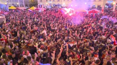 Croatia fans celebrate equaliser