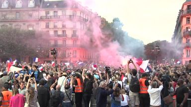 France fans celebrate in Paris