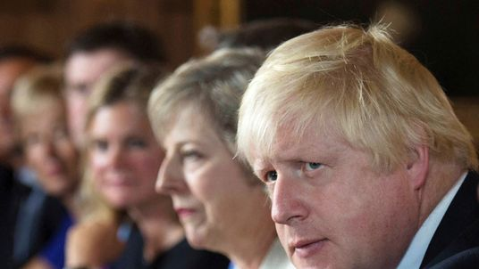 Foreign Secretary Boris Johnson attends a cabinet meeting hosted by Theresa May at the Prime Minister's country retreat Chequers in Buckinghamshire
