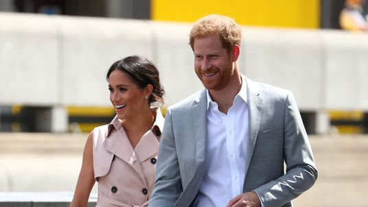 Duchess of Sussex, and Prince Harry arrive at the Nelson Mandela Centenary Exhibition