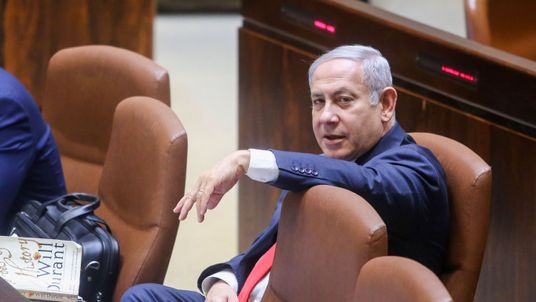 Israeli Prime Minister Benjamin Netanyahu attends the Knesset Plenary Hall session ahead of the vote on the National Law on late July 18, 2018
