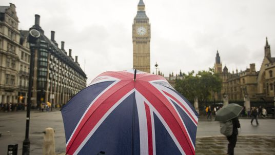 A person carries a Union Jack umbrella in London