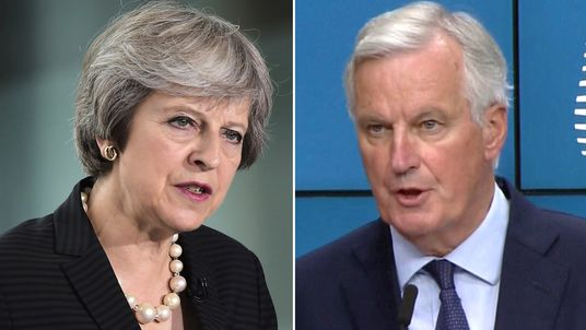 Theresa May and Michel Barnier