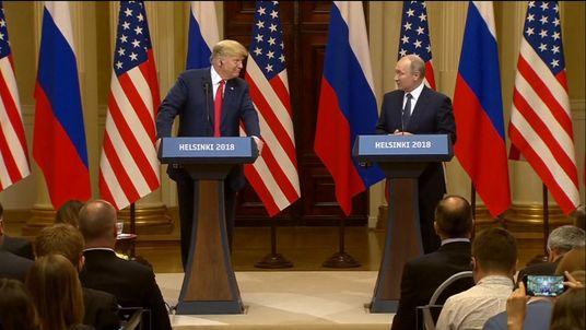 Trump and Putin address a news conference after talks