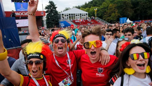 Belgium fans celebrate their team's victory at Moscow's fan zone