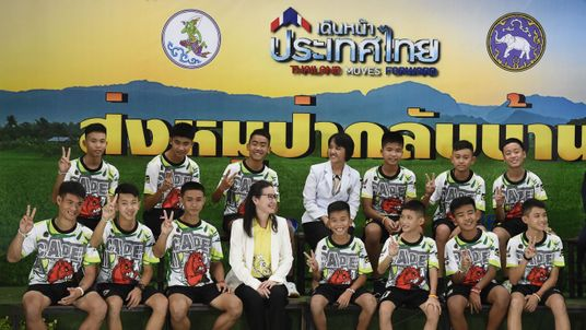 Twelve Thai boys and their football coach who were rescued from a flooded cave after being trapped for days give a news conference