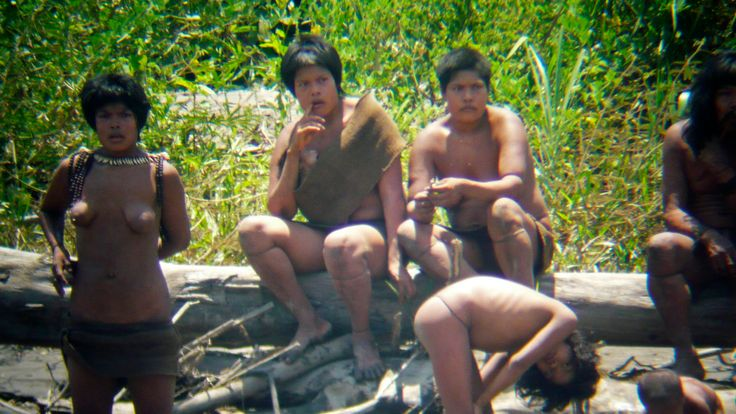 Members of the Mashco-Piro tribe at the Manu National Park in the Amazon basin of southeastern Peru