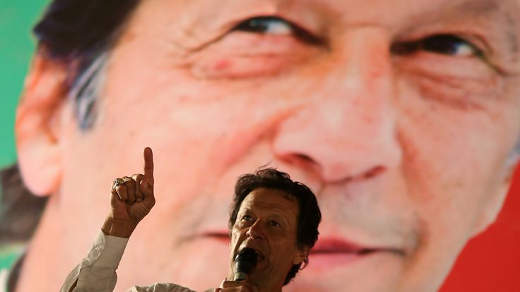 Imran Khan addresses crowds while on the campaign trial