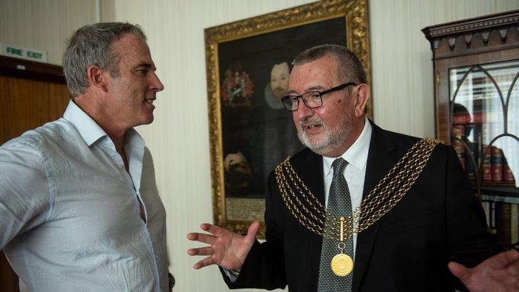 Lewis with the Lord Mayor of Plymouth, Sam Davey