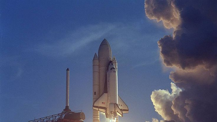 The space shuttle launches for the first time in 1981