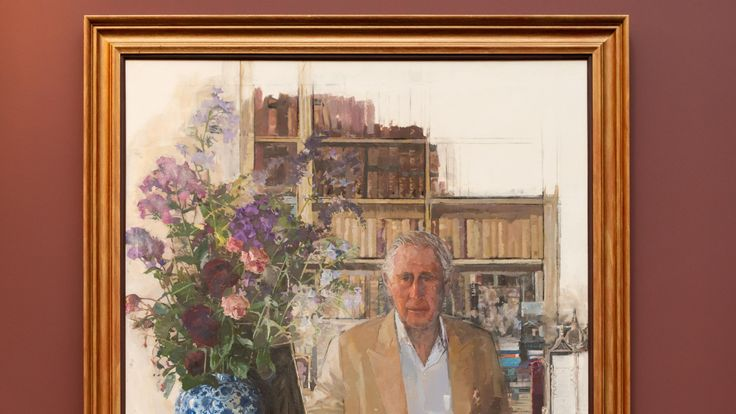 Prince Charles painted sitting at a desk. Pic: Royal Collection Trust