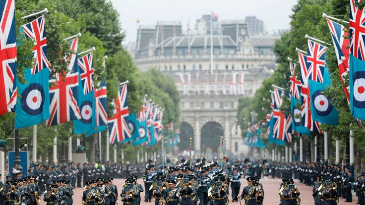 The RAF parade down The Mall before the handover of the new colour