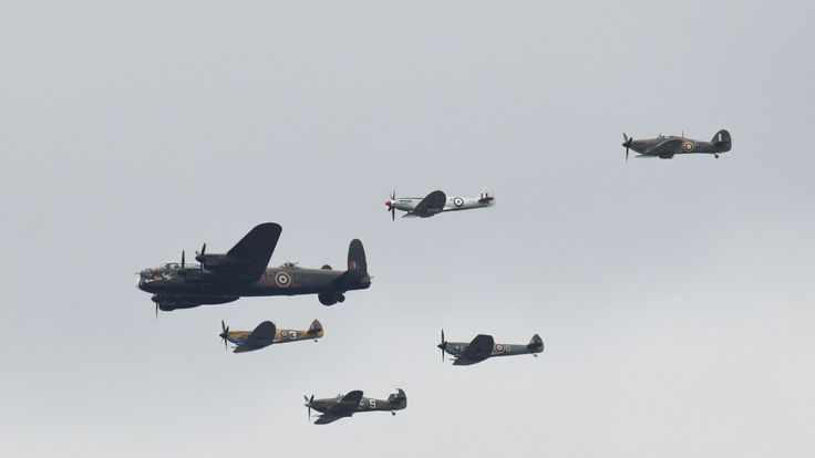 A Lancaster, Spitfires and Hurricanes pass over central London